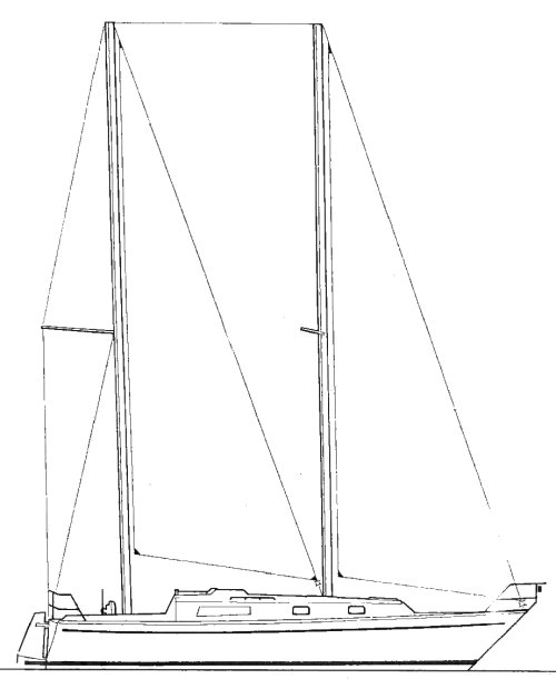 Carter 35 (Luna) drawing on sailboatdata.com