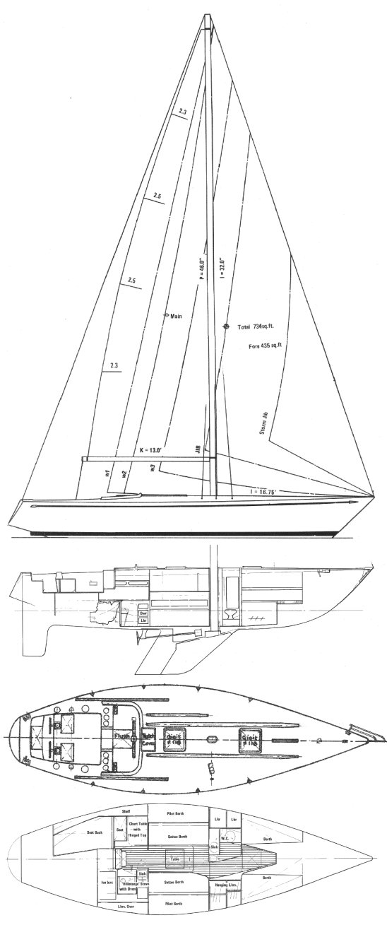 Carter 39 drawing on sailboatdata.com