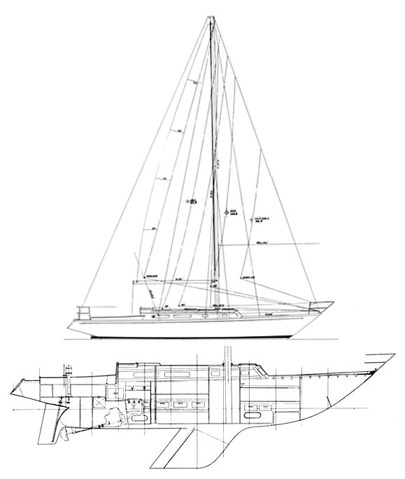 Carter 40 drawing on sailboatdata.com