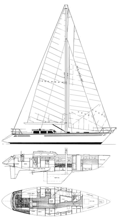 Cartwright 44 drawing on sailboatdata.com