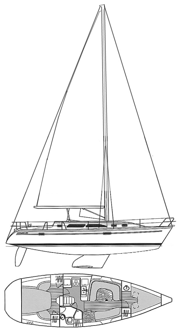 Catalina 380 drawing on sailboatdata.com