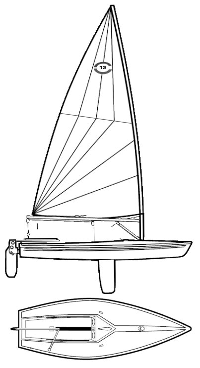 Catalina 13 drawing on sailboatdata.com