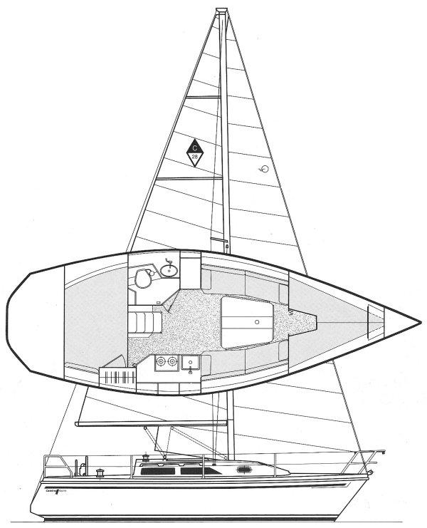 Catalina 28 drawing on sailboatdata.com