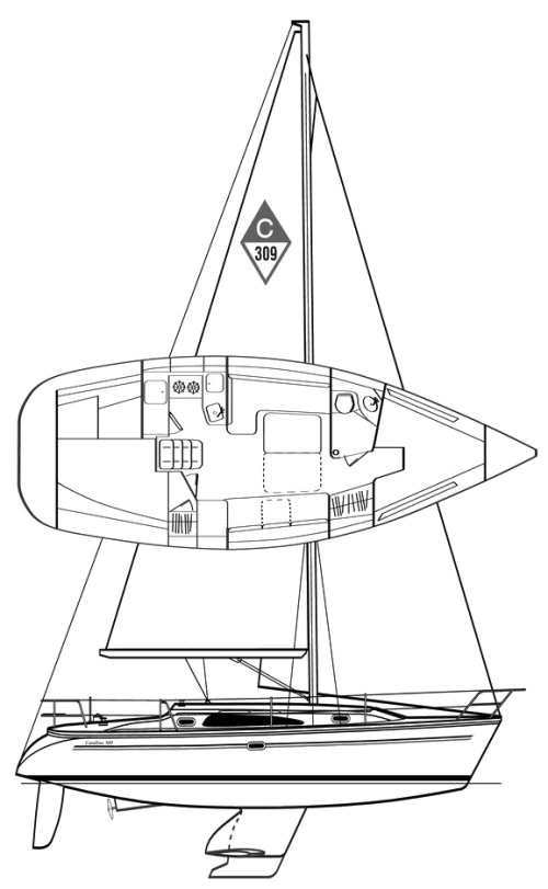 Catalina 309 drawing on sailboatdata.com