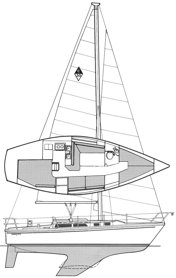 Catalina 30 MKII drawing on sailboatdata.com