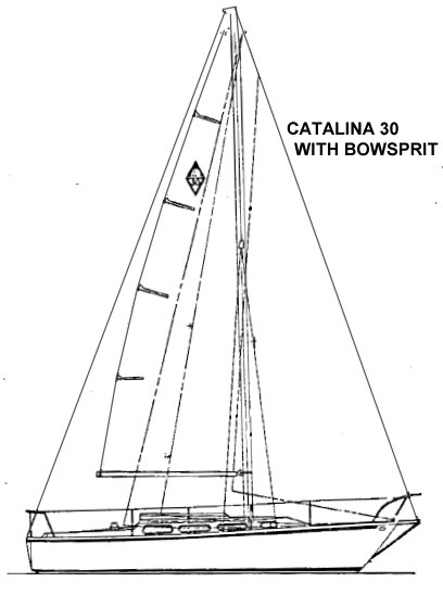 Catalina 30 with bowsprit drawing on sailboatdata.com