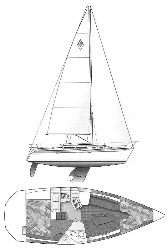 Catalina 320 drawing on sailboatdata.com