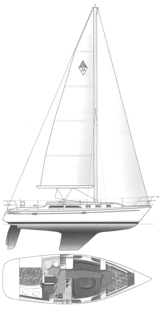 Catalina 34 MK II drawing on sailboatdata.com