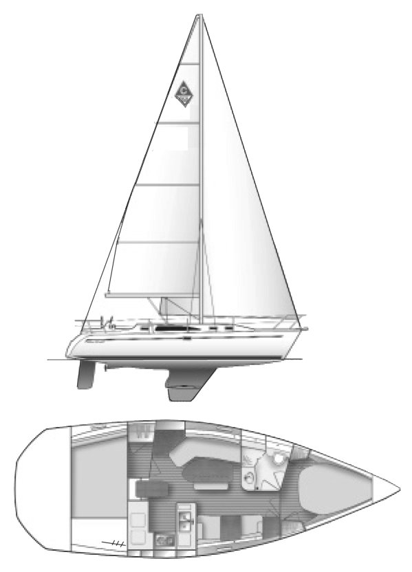 Catalina 350 drawing on sailboatdata.com