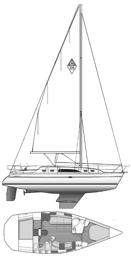 Catalina 375 drawing on sailboatdata.com