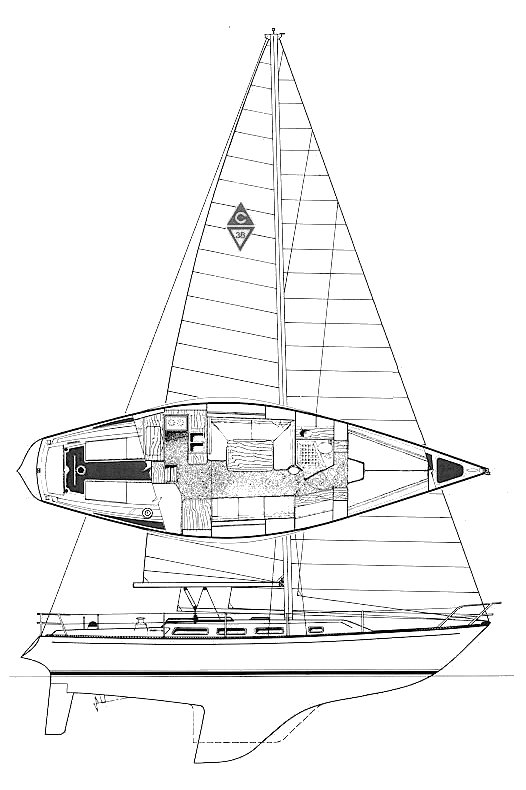 Catalina 38 drawing on sailboatdata.com
