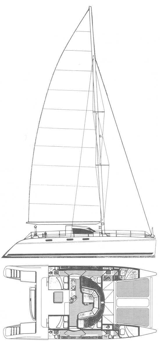 Catana 48 drawing on sailboatdata.com