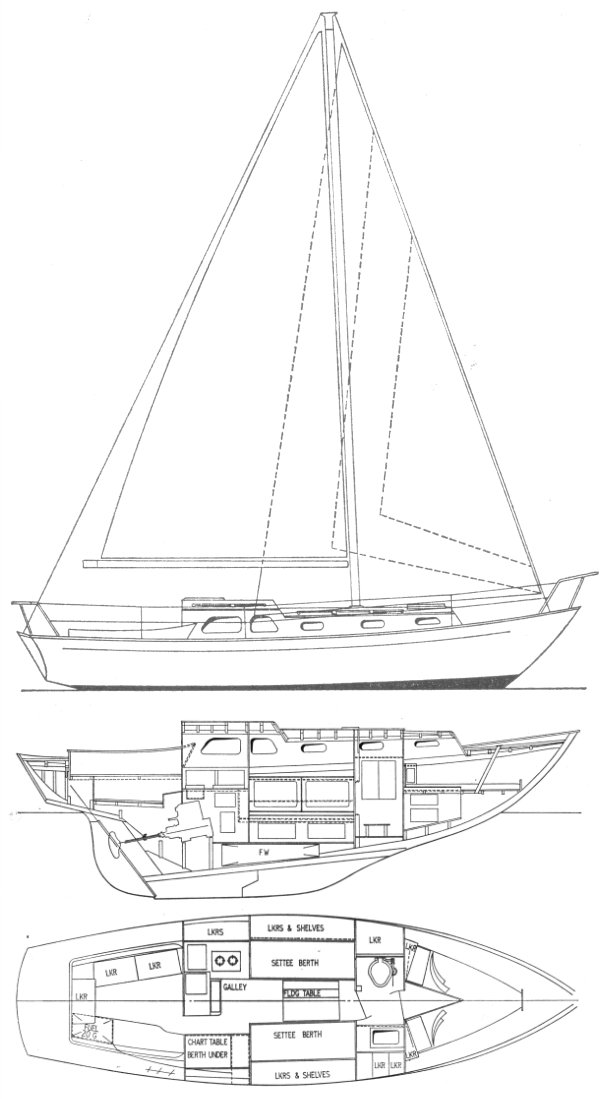 Cavalier 30 (Cheverton) drawing on sailboatdata.com