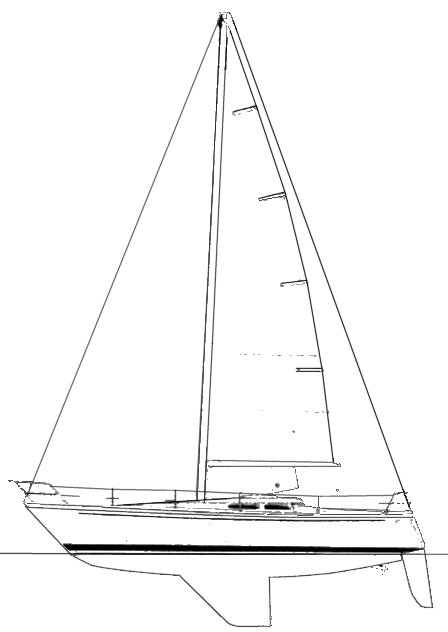 Cavalier 36 drawing on sailboatdata.com