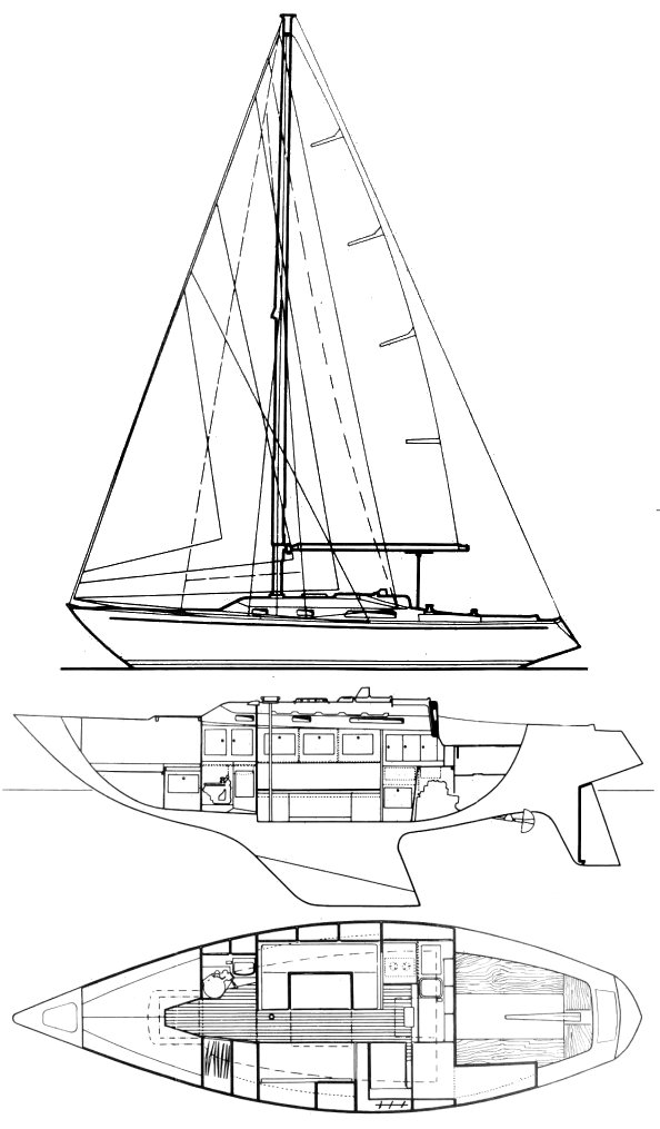 Centurion 32 (Wauquiez) drawing on sailboatdata.com