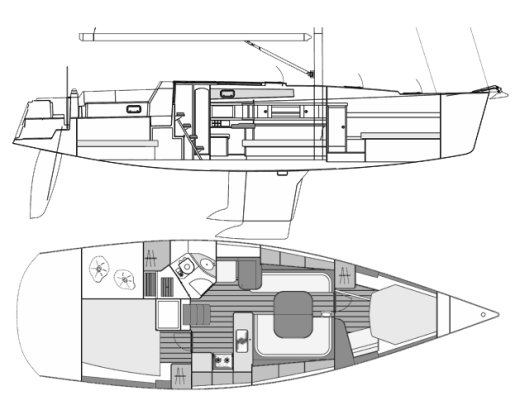Centurion 40S drawing on sailboatdata.com