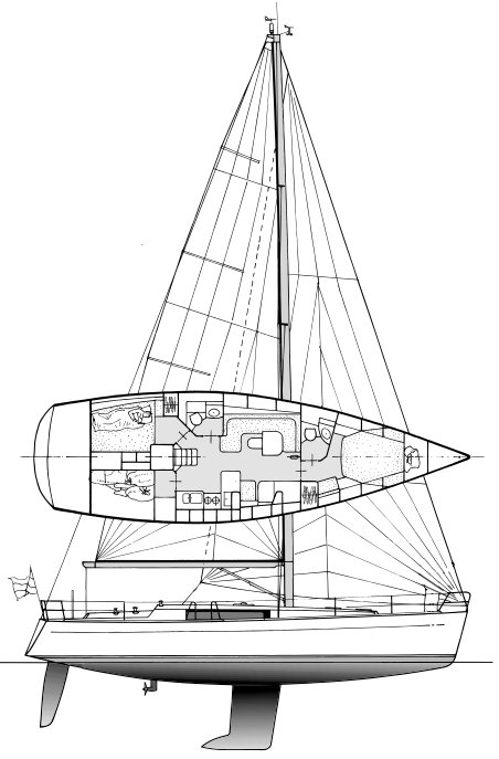 Centurion 45S drawing on sailboatdata.com
