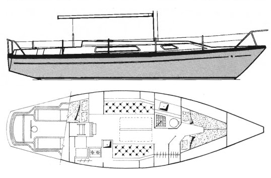 Challenger 35 (Primrose) drawing on sailboatdata.com