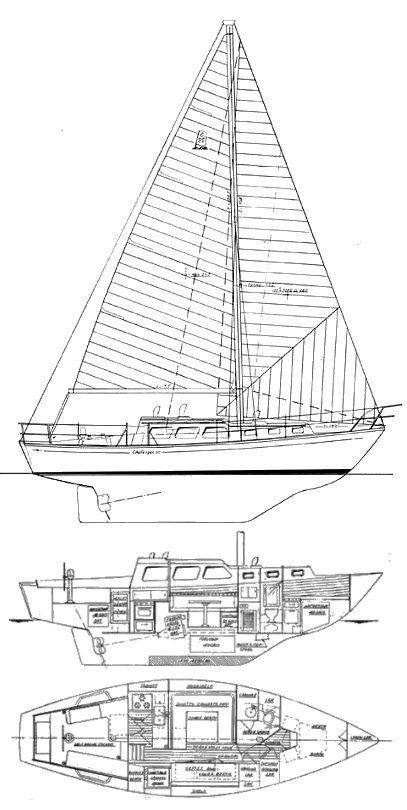 Challenger 35 (USA) drawing on sailboatdata.com
