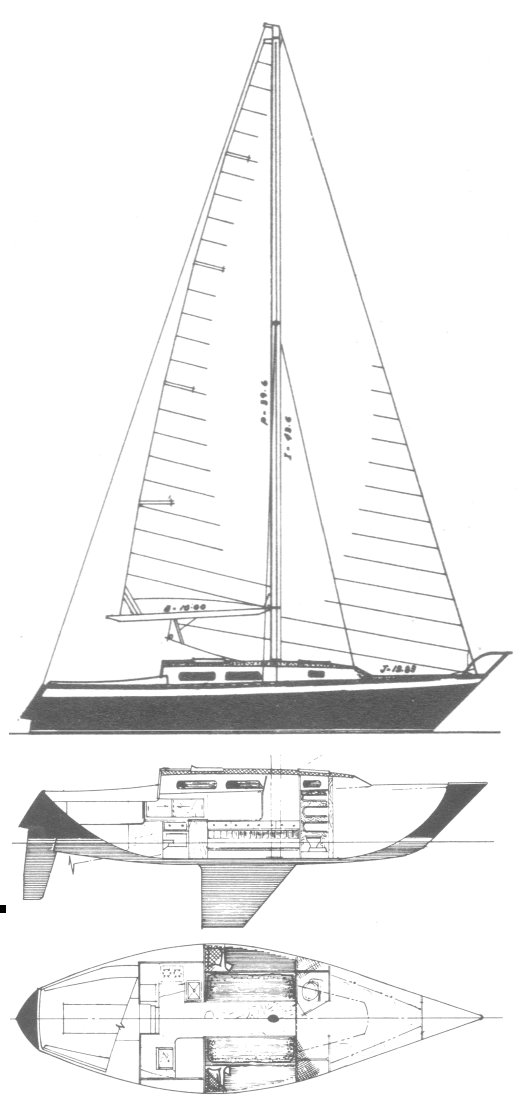 Chaser 33 drawing on sailboatdata.com