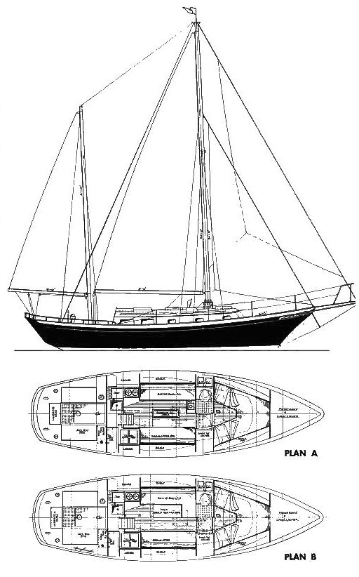 Clipper 33 (Cheoy Lee) drawing on sailboatdata.com