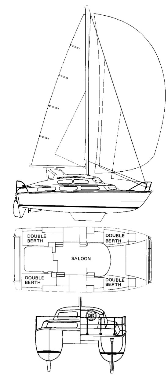 Cherokee 35 Cat drawing on sailboatdata.com