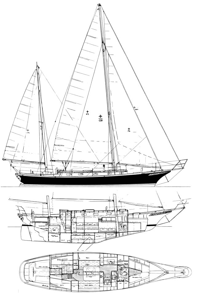 Cherubini 44 drawing on sailboatdata.com