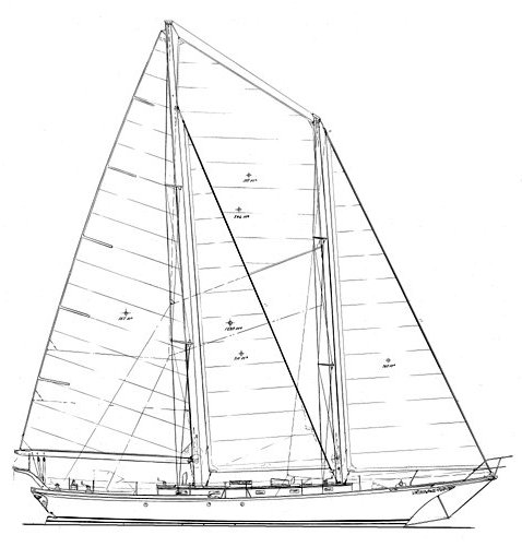 Cherubini 48 drawing on sailboatdata.com