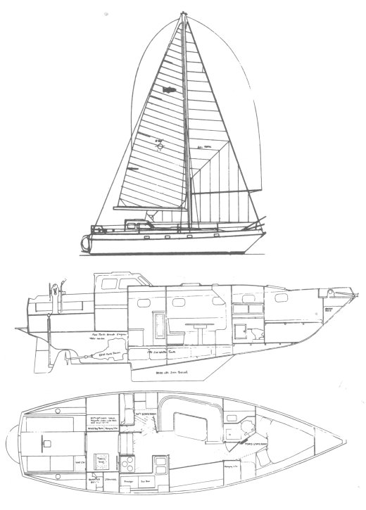 Chinook 37 drawing on sailboatdata.com