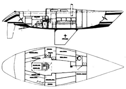 Choate 40 (Kaufman) drawing on sailboatdata.com