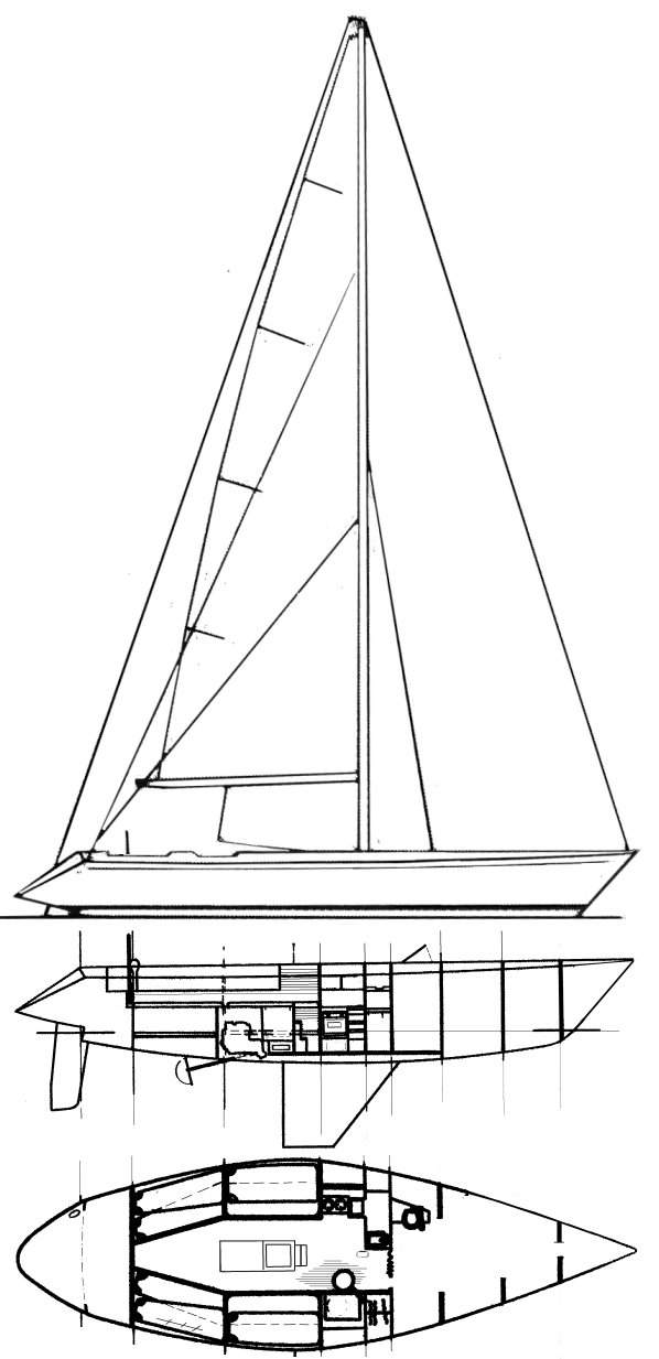 Choate 44 drawing on sailboatdata.com