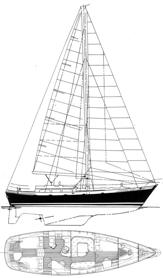 Christina 43 (Hans Christian) drawing on sailboatdata.com