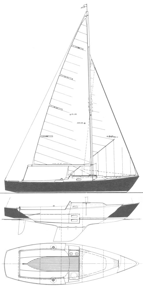 Classic 22 (Grampian) drawing on sailboatdata.com