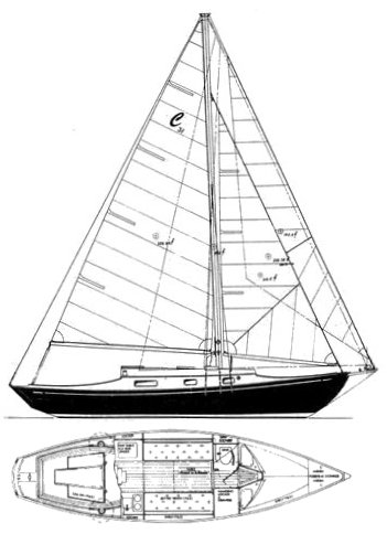 Classic 31 drawing on sailboatdata.com