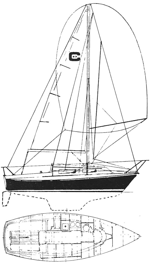 Clipper 23 drawing on sailboatdata.com