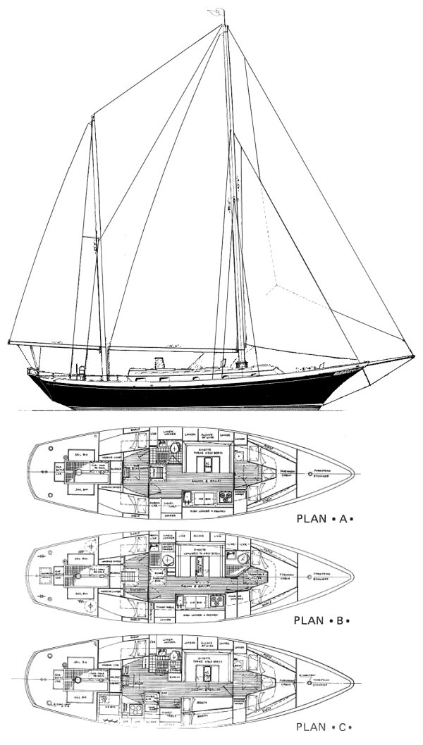 Clipper 42 (Cheoy Lee) drawing on sailboatdata.com