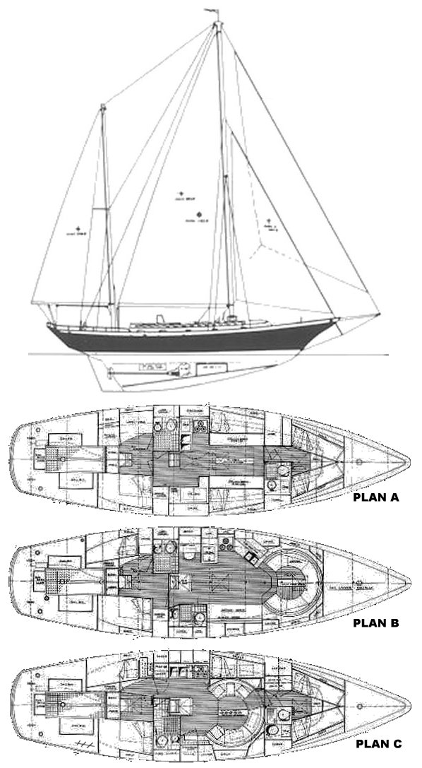 Clipper 48 (Cheoy Lee) drawing on sailboatdata.com