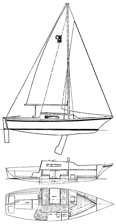 Clipper Marine 26 drawing on sailboatdata.com