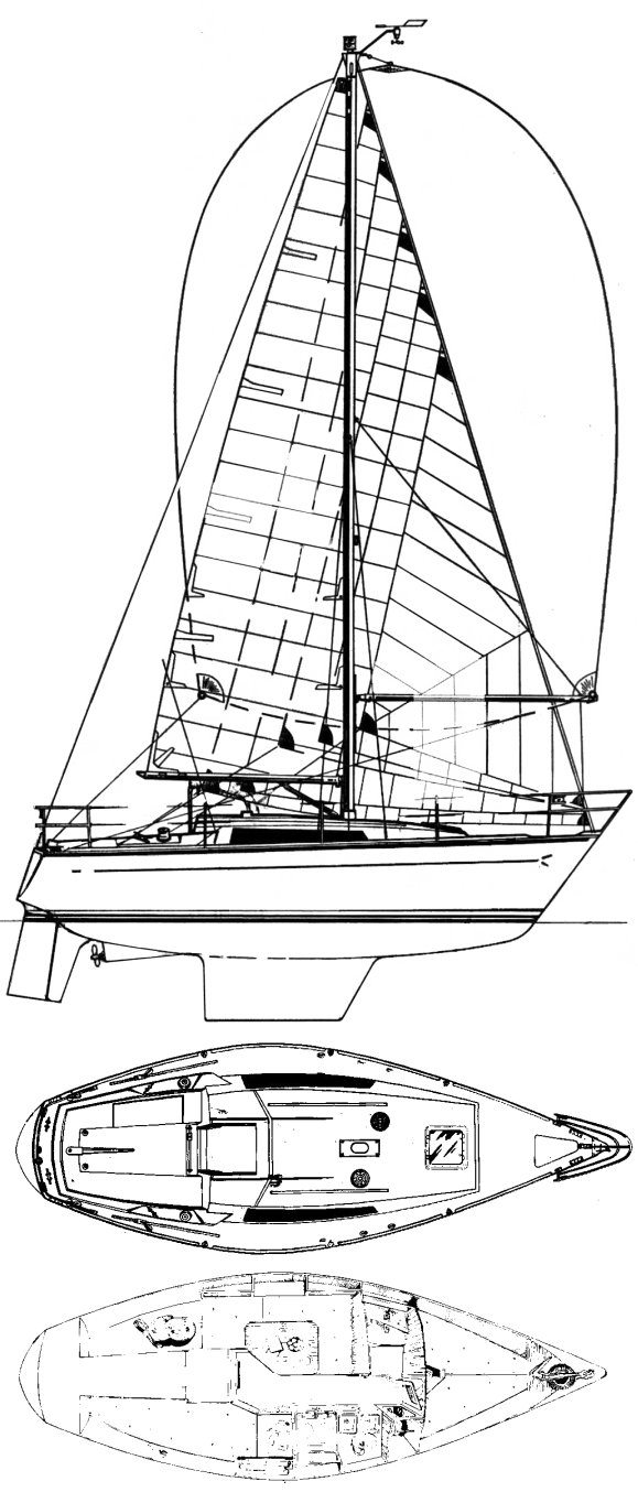 Cobra 850 drawing on sailboatdata.com