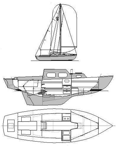 Columbia 24 drawing on sailboatdata.com