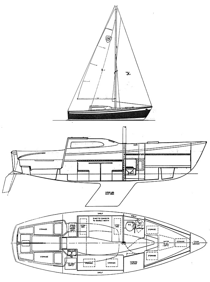 Columbia 26 Mk II drawing on sailboatdata.com