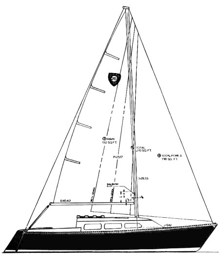 Columbia 26T drawing on sailboatdata.com