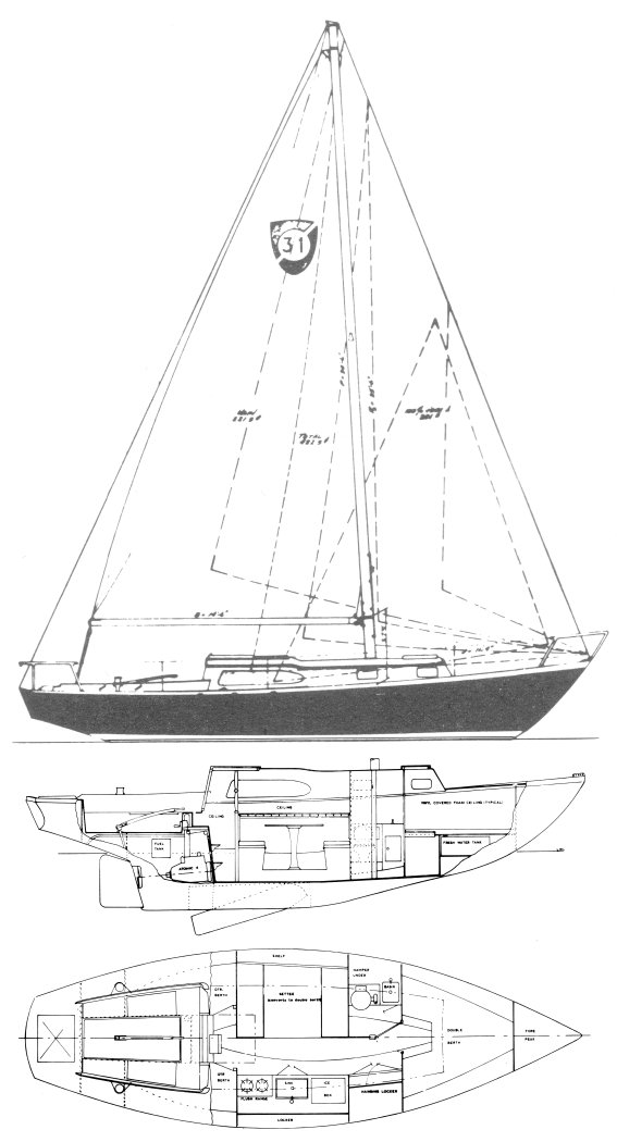 Columbia 31 drawing on sailboatdata.com