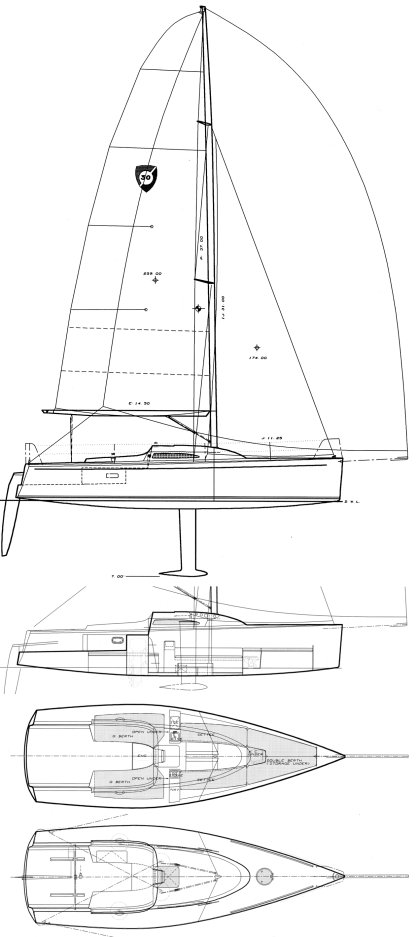 Columbia 32 Sport Yacht drawing on sailboatdata.com