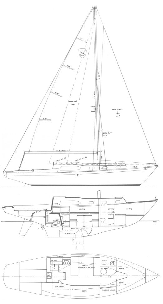 Columbia 34-1 drawing on sailboatdata.com