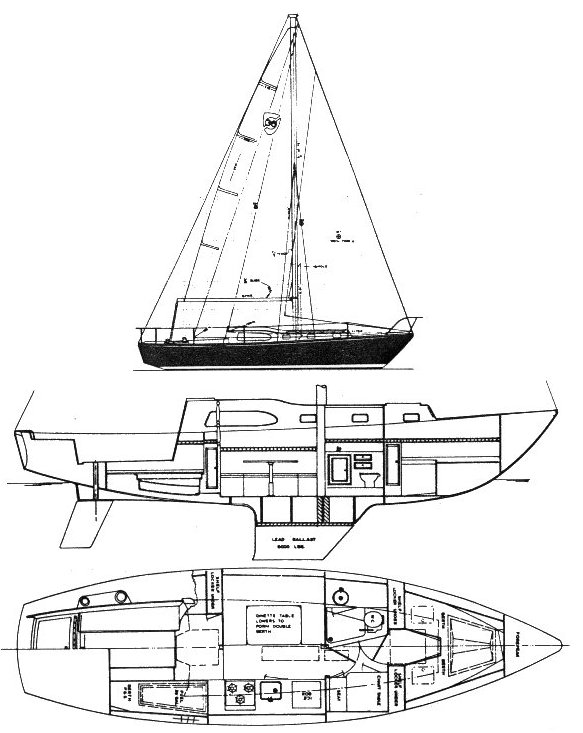 Columbia 36 drawing on sailboatdata.com