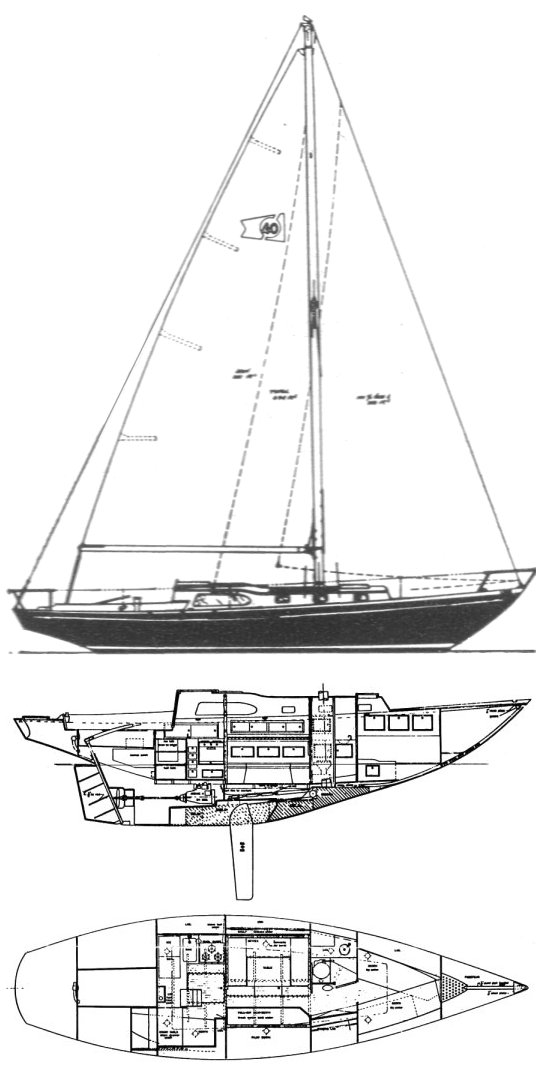 Columbia 40 drawing on sailboatdata.com