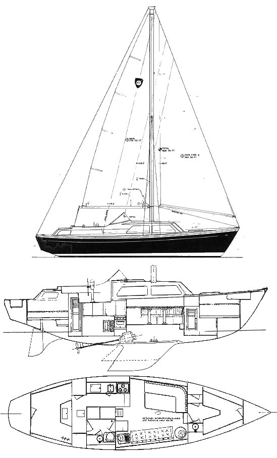 Columbia 41 MS drawing on sailboatdata.com