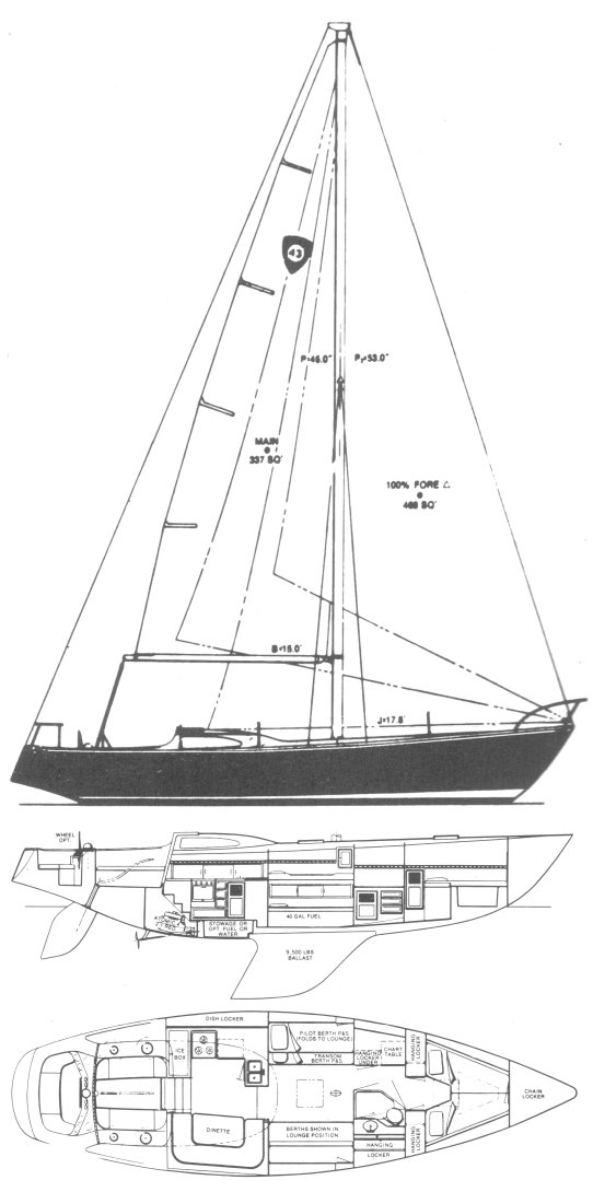 Columbia 43 drawing on sailboatdata.com