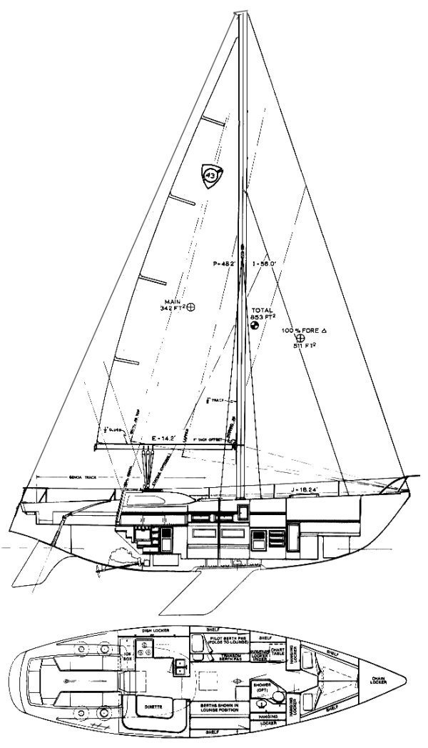 Columbia 43 Mk III drawing on sailboatdata.com